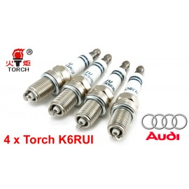 Bougieset 4x Torch K6RIU Iridium U-Groove AUDI 4 cil.