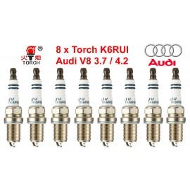 Bougieset 8x Torch K6RIU Iridium U-Groove AUDI A4 A6 A8 3.7 4.2 V8