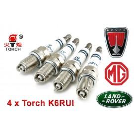 Bougieset 4x Torch K6RIU Iridium U-Groove LAND ROVER MG ROVER