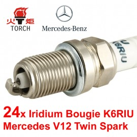 Bougieset 24x Torch K6RIU Iridium U-Groove Mercedes V12 600 AMG