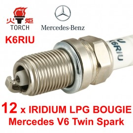 Bougieset 12x Torch K5RTIP Mercedes V6 Twin Spark Iridium Platinum