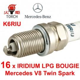 Bougieset 16x Torch K5RTIP Mercedes V8 Twin Spark Iridium Platinum
