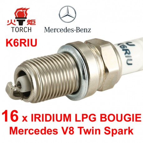 Bougieset 16x Torch K5RTIP Mercedes V8 Twin Spark Iridium Platinum