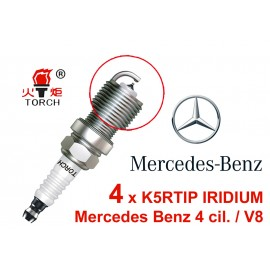 Bougieset 4x Torch K5RTIP Iridium - Platinum Mercedes 4 cil / V8