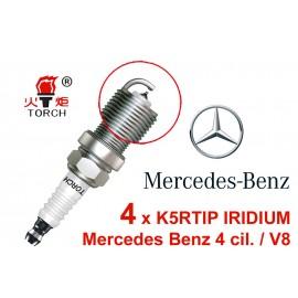 Bougieset 4x Torch K5RTIP Iridium - Platinum Mercedes 4 cil / V8