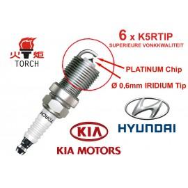 Bougieset 6x Torch K5RTIP Iridium - Platinum HYUNDAI KIA V6