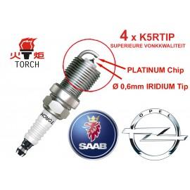 Bougieset 4x Torch K5RTIP Iridium - Platinum OPEL SAAB